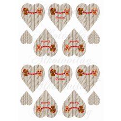 Kutyusok szív füzérrel kötött mintás szíveken KICSIBEN