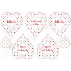Piros apró szív mintás szívek Jobbulást és Gyógyulj meg feliratokkal