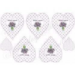 Lila apró szív mintás szívek Hálásak vagyunk felirattal levendula virágos kislánnyal