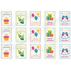 Vidám szülinapi kártyák 6x4 cm