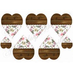Fa és rózsamintás szívek