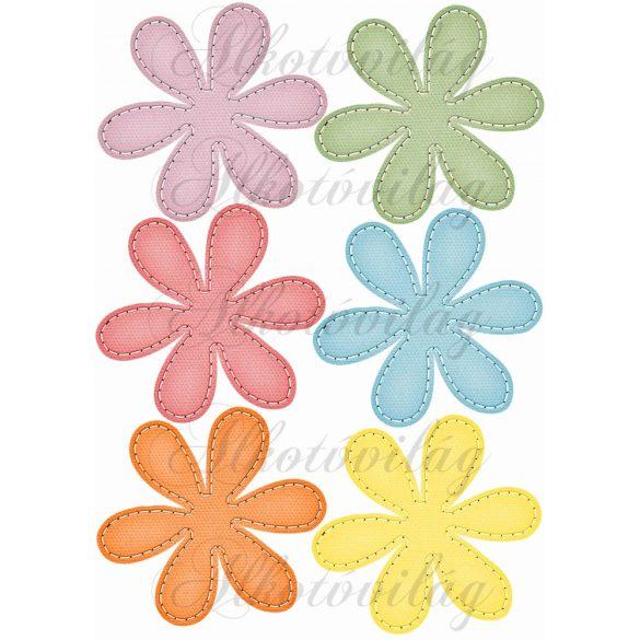 Színes varrott szélű virágok
