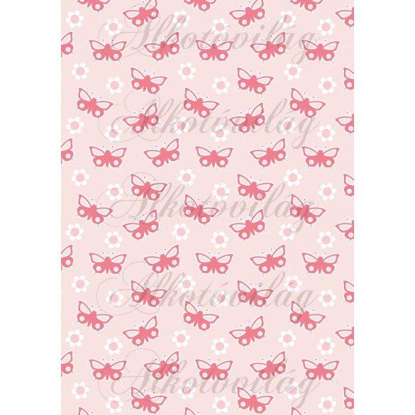 Rózsaszín pillangók és virágok