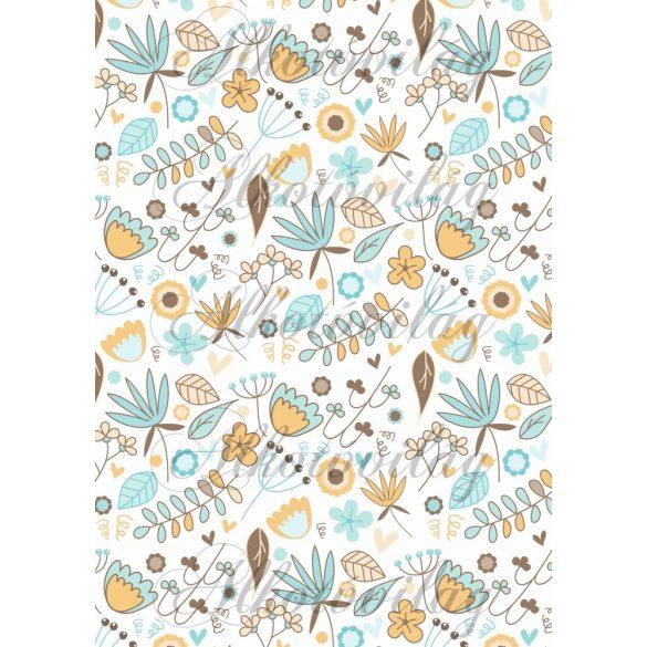 Virágos barna-sárga-kék
