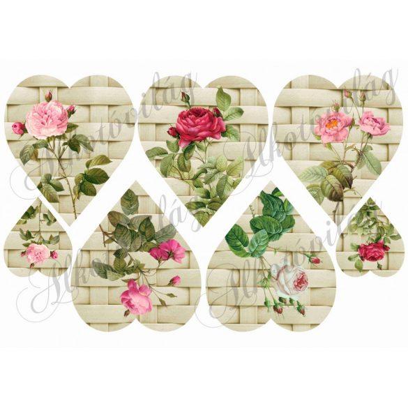 Rattan szívek rózsákkal