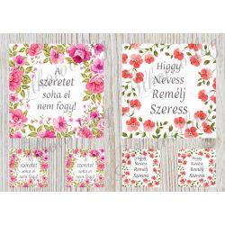 Virágos keretek idézetekkel 12,5 cm-es hímzőkerethez