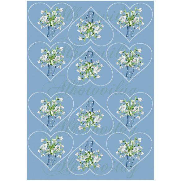 Hóvirágok kék pöttyös kancsóban KICSIBEN
