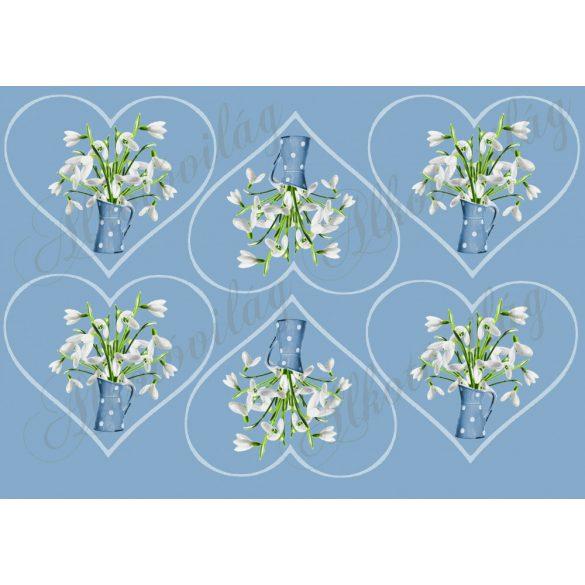 Hóvirágok kék pöttyös kancsóban