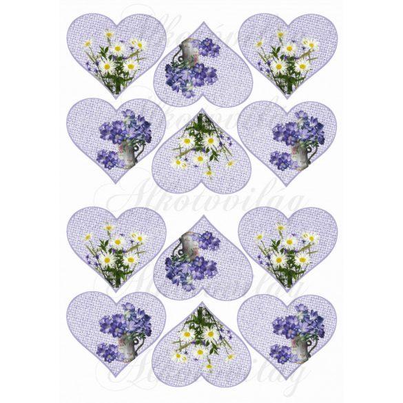 Margaréta és lila virág zsákvászon szív alapon KICSIBEN
