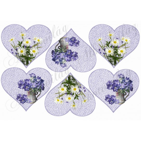 Margaréta és lila virág zsákvászon szív alapon