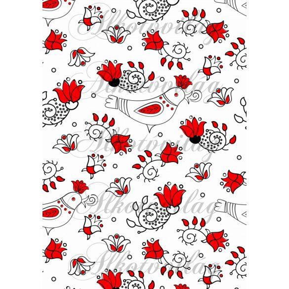 Piros-fehér folk minta madárkával, tulipánnal