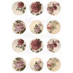 Romantikus rózsás körök 8 cm-es méretben KICSIBEN