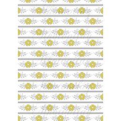 Szürke - sárga virágos kollekció - sárga margaréták fehér bordűrökön