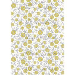 Szürke - sárga virágos kollekció - sárga virágok szürke pöttyös középpel fehér alapon