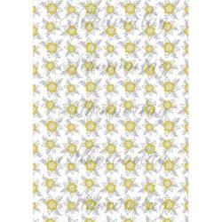 Szürke - sárga virágos kollekció - sárga virágok áttört levelekkel fehér alapon