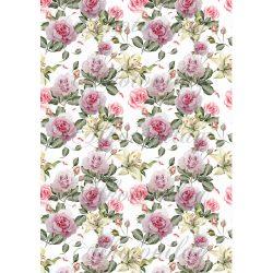 Gyönyörű rózsaszín rózsák fehér liliomokkal
