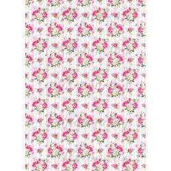 Gyönyörű rózsacsokrok pasztell rózsaszín és zöld csíkos háttérrel KICSIBEN
