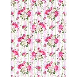 Gyönyörű rózsacsokrok pasztell rózsaszín és zöld csíkos háttérrel
