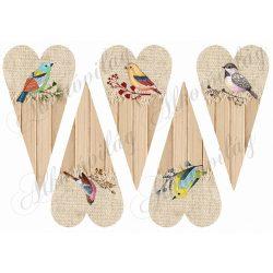 Hosszúkás szívek kétféle anyagból kézzel festett madárkákkal