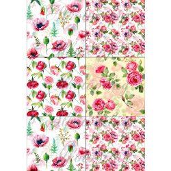 Pipacsok és rózsák patchwork