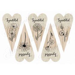 Hosszúkás szívek rajzolt virágokkal - SZERETETTEL felirattal