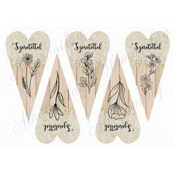 Hosszúkás szívek rajzolt virágokkal 2- SZERETETTEL felirattal