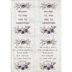 Kép kékes - barnás virágokkal - MINDEN ÚJ NAP idézettel