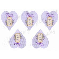 Lila pöttyös szívek levendulás kártyákkal - LEGYEN SZÉP NAPOD felirattal