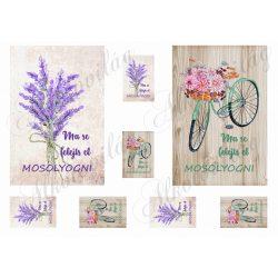 Képek levendulával, virágos biciklivel - feliratokkal - 10 x 15 cm
