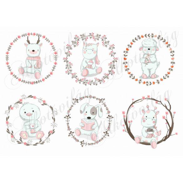 Kézzel rajzolt állatkák koszorúkban 1