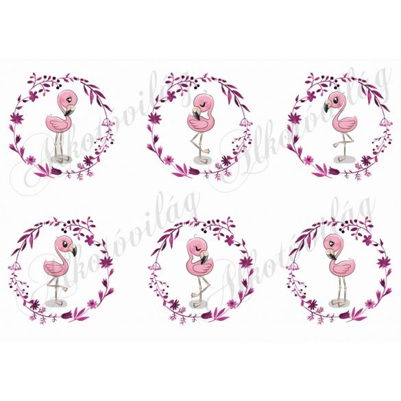 Flamingók virágos koszorúban