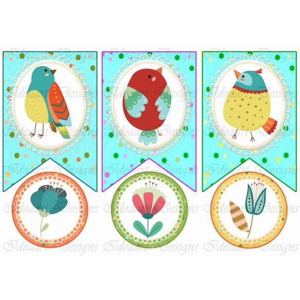 Tavaszi banner madárkákkal