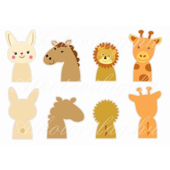 nyuszi, ló, oroszlán, zsiráf