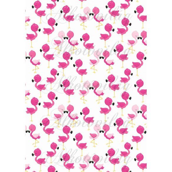 Flamingós csomag: flamingók fehér alapon