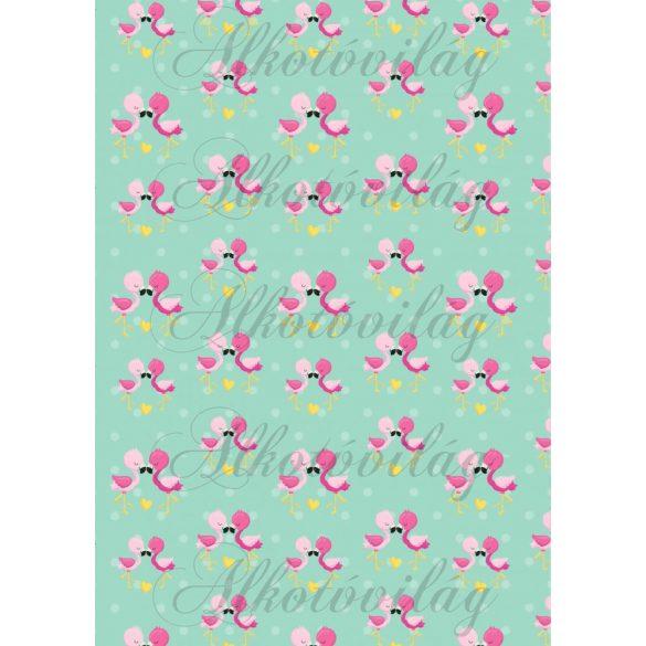Flamingós csomag: flamingók kék alapon