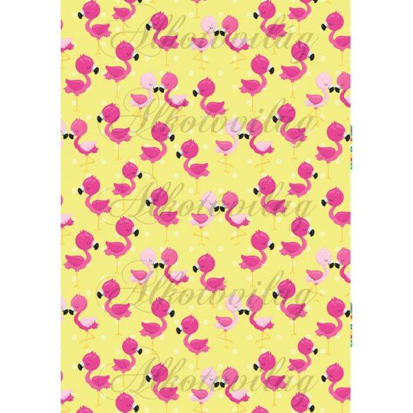 Flamingós csomag: flamingók sárga alapon