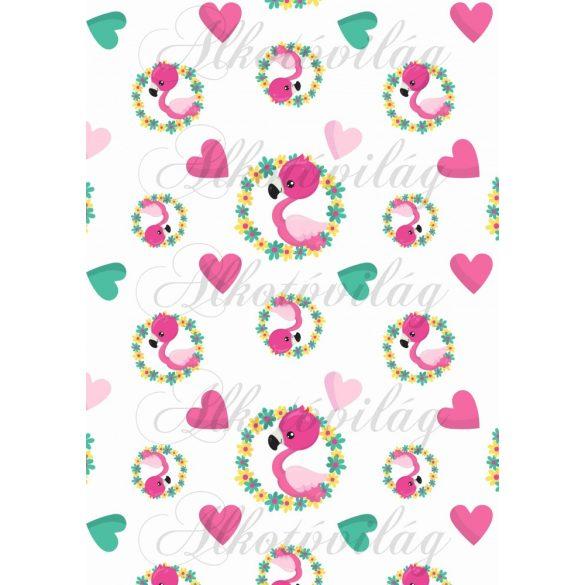Flamingós csomag: flamingók virágkoszorúban