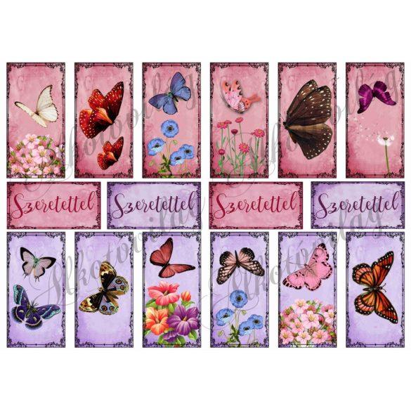 Pillangók téglalapokban - rózsaszínes