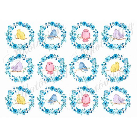 Kismadarak kék virágkoszorúban