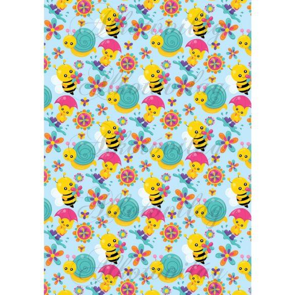 Méhecskék, csigák, virágok
