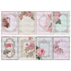 Vintage rózsaszín Rózsák kártyákon