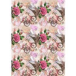 Párizsos képek rózsákkal, biciklivel, szívekkel
