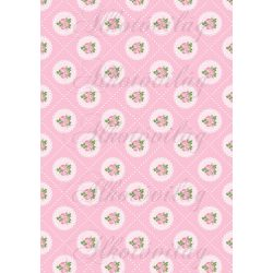 Shabby chic rózsaszín rózsák csipkés körökben rózsaszín alapon