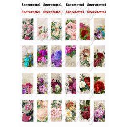 Vintage virágok 2,5 x 5 cm-es téglalapokon