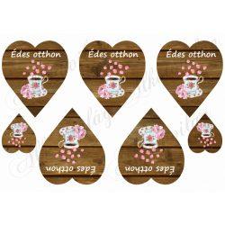 Shabby - Fa hátterű szívek kávéscsészével, rózsaszirmokkal, édes otthon felirattal