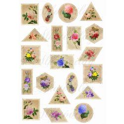 Vintage bélyegek virágokkal
