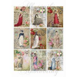 Vintage kártyák hölgyekkel - írásos háttérrel- 6x8 cm