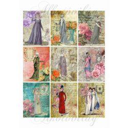 Vintage kártyák hölgyekkel 6x8 cm