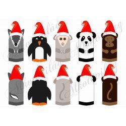 farkas, maki, majom, csimpánz, panda, pingvin
