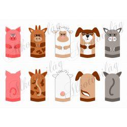 malac, tehén, cica, kutya, bárány